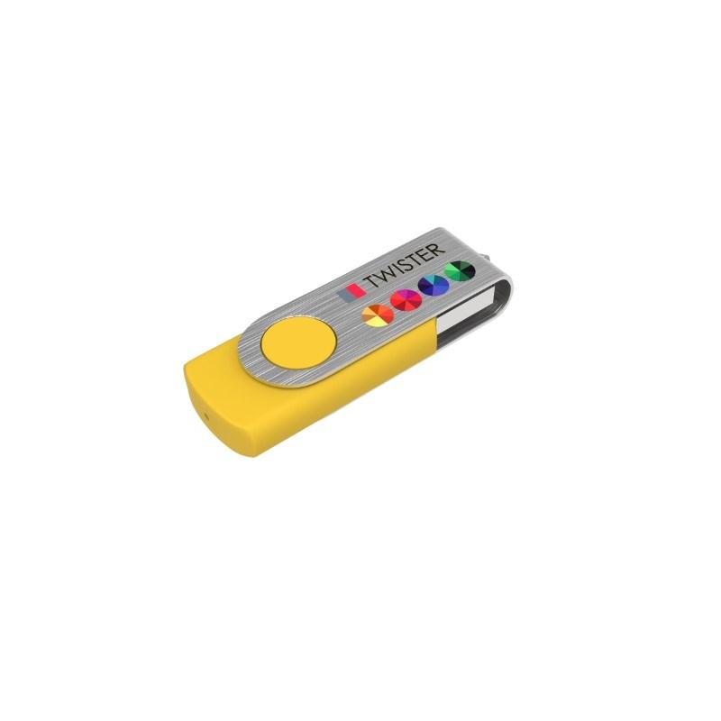 USB Stick Twister 8 GB Basic Geel met bedrukking in full color