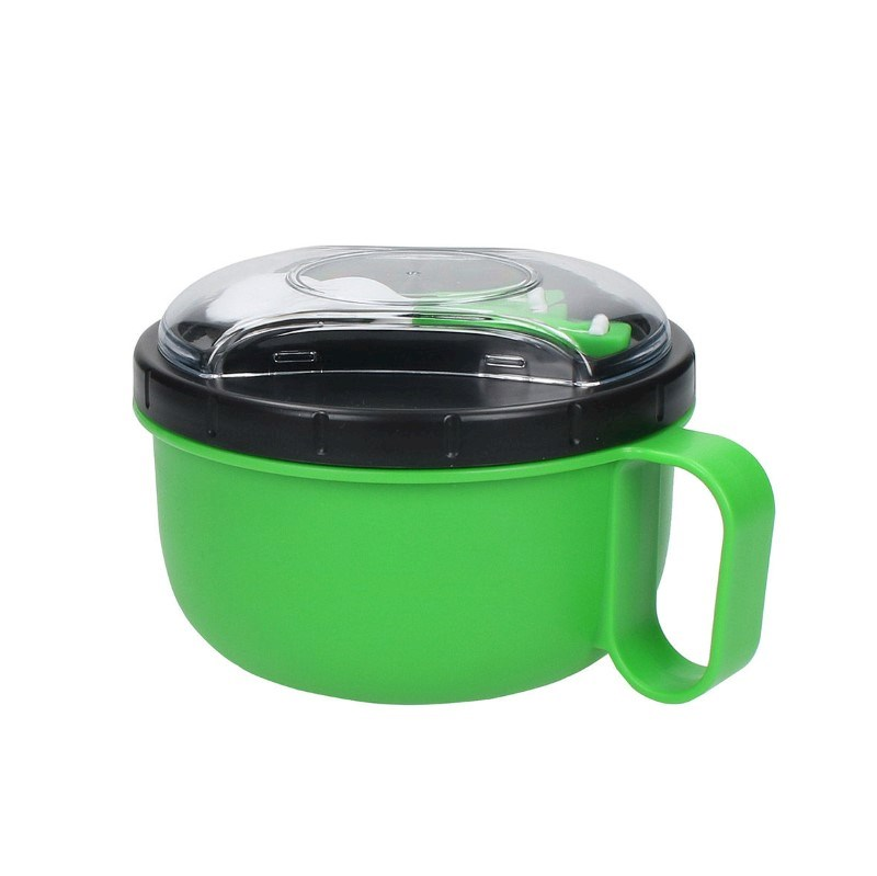 Round lunch box with cutlery