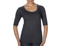 Women`s Tri-Blend Deep Scoop 1/2 Sleeve Tee