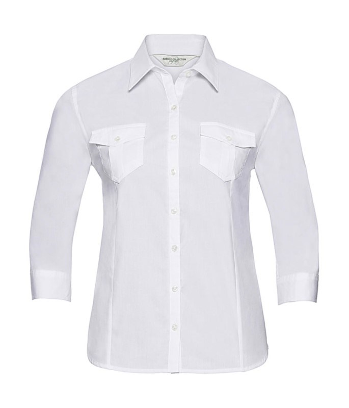 Ladies` Roll 3/4 Sleeve Shirt