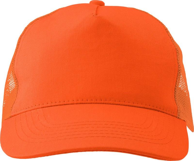 Katoenen pet met kunststof cap.