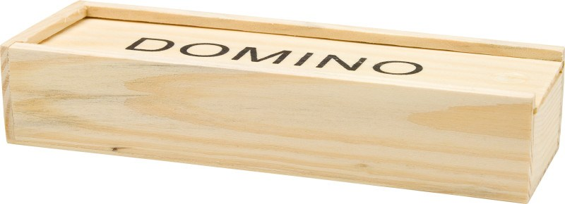 Houten doos met dominospel