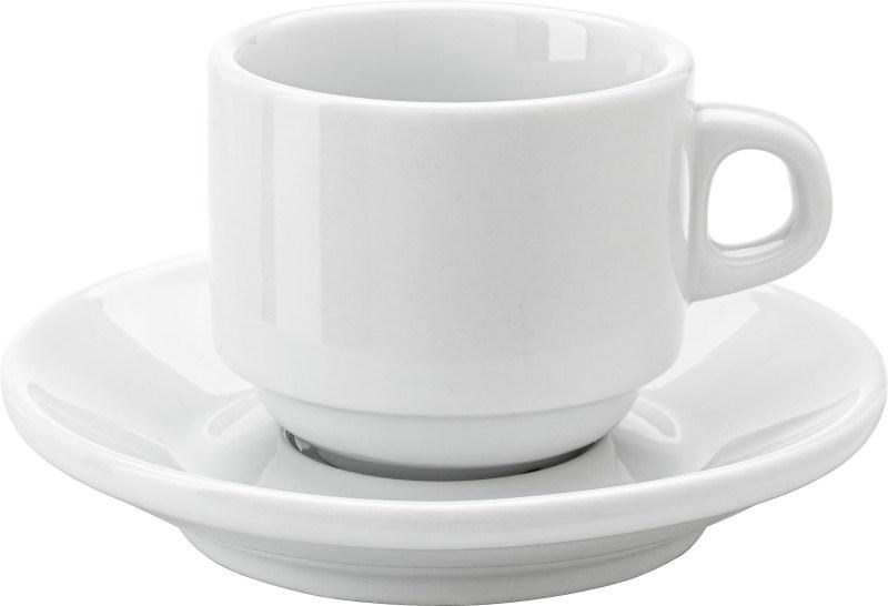 Porseleinen kop en schotel (100 ml), stapelbaar.