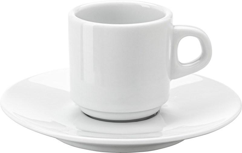 Porseleinen kop en schotel (70 ml), stapelbaar.