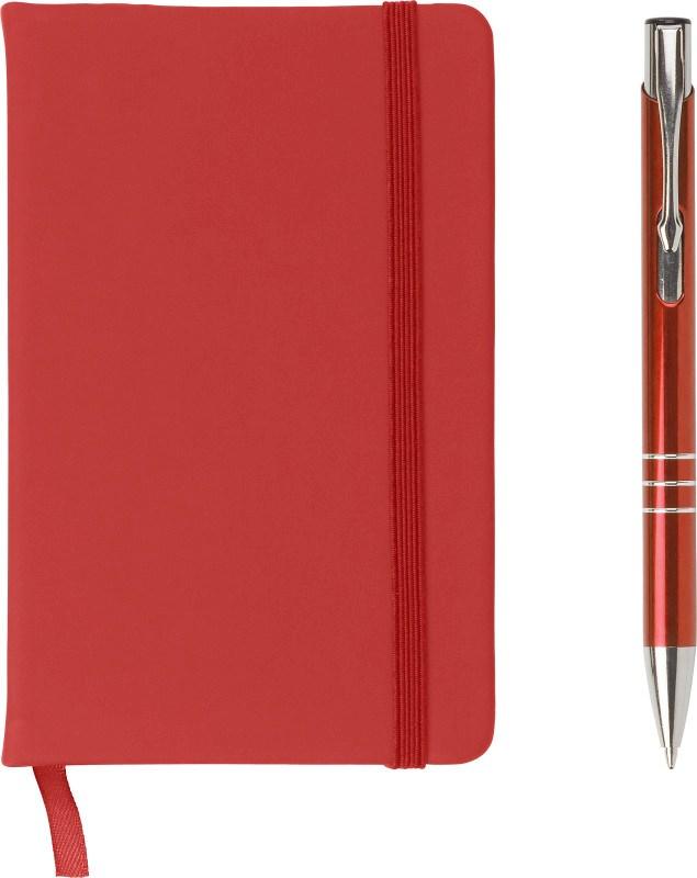 PU notitieboek met aluminium balpen