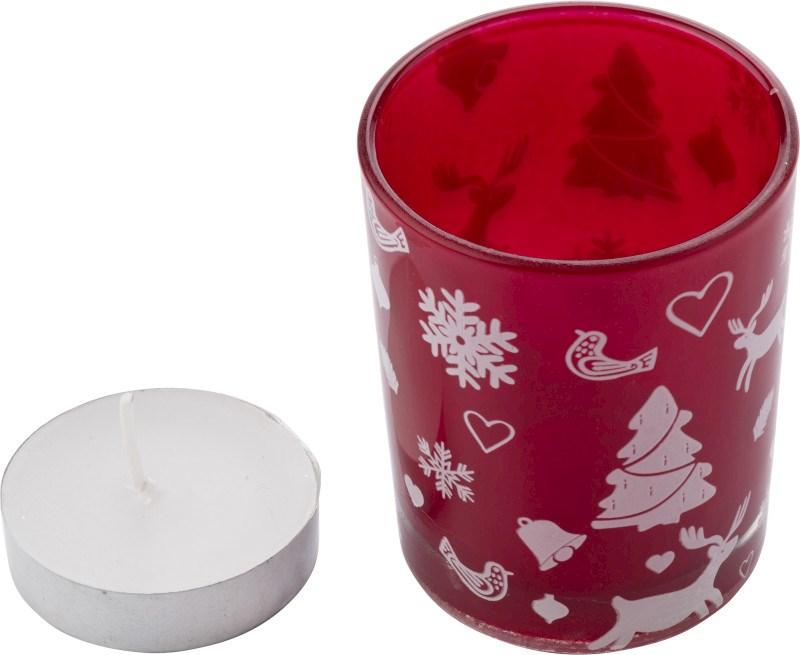 Glazen kaarsenhouder met kerstdecoratie