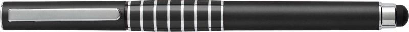 Kunststof rollerbal, zwartschrijvend, met stylus en een zilverkleurige clip.