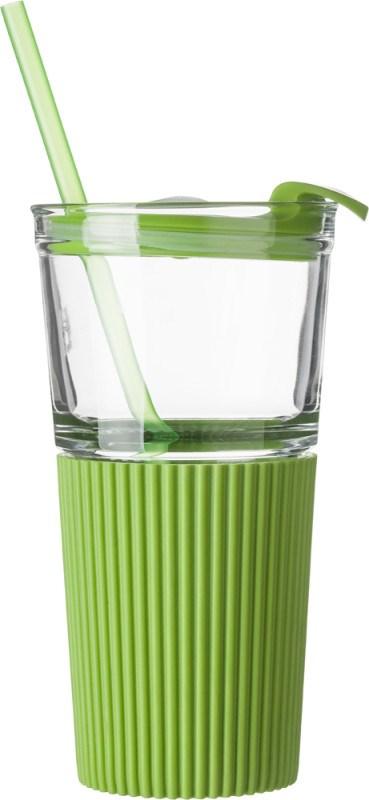 Glazen drinkbeker met rietje (500 ml)