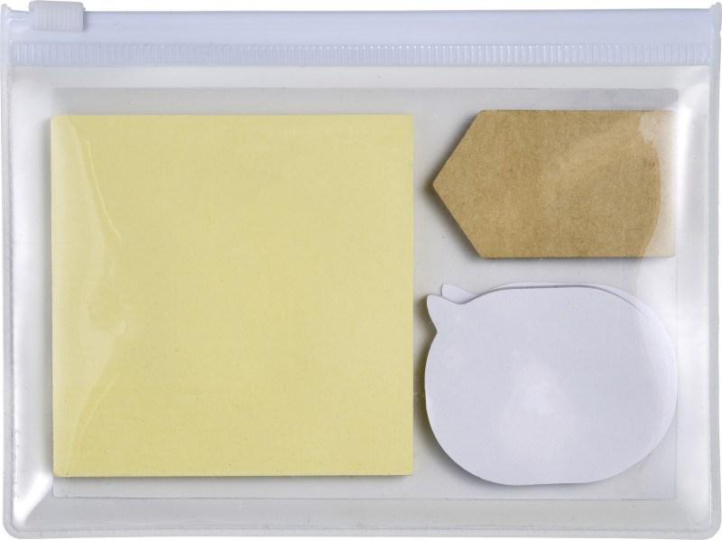 PVC etui met 3 zelfklevende memoblaadjes