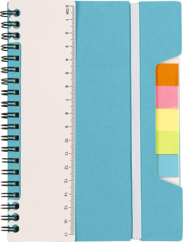 Ringband notitieboek met liniaal en memoblaadjes