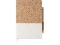 Kurk en linnen notitieboek met pen
