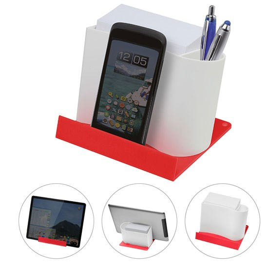 Smartphone of tablethouder met memobox