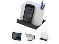 Smartphone of tablethouder met memobox