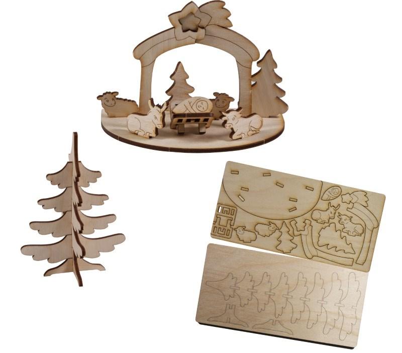 3D houten puzzle kaart kerstboom