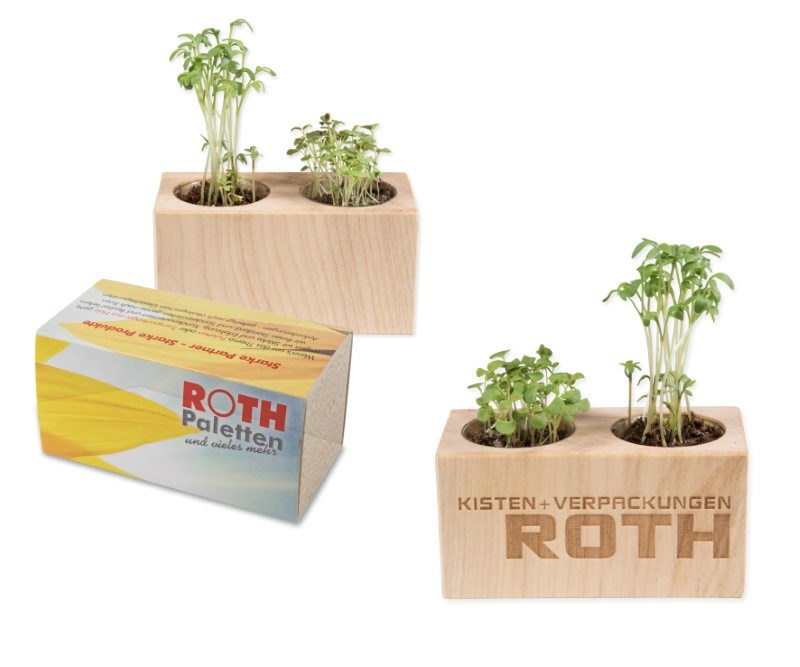 Houten plantenset dubbel