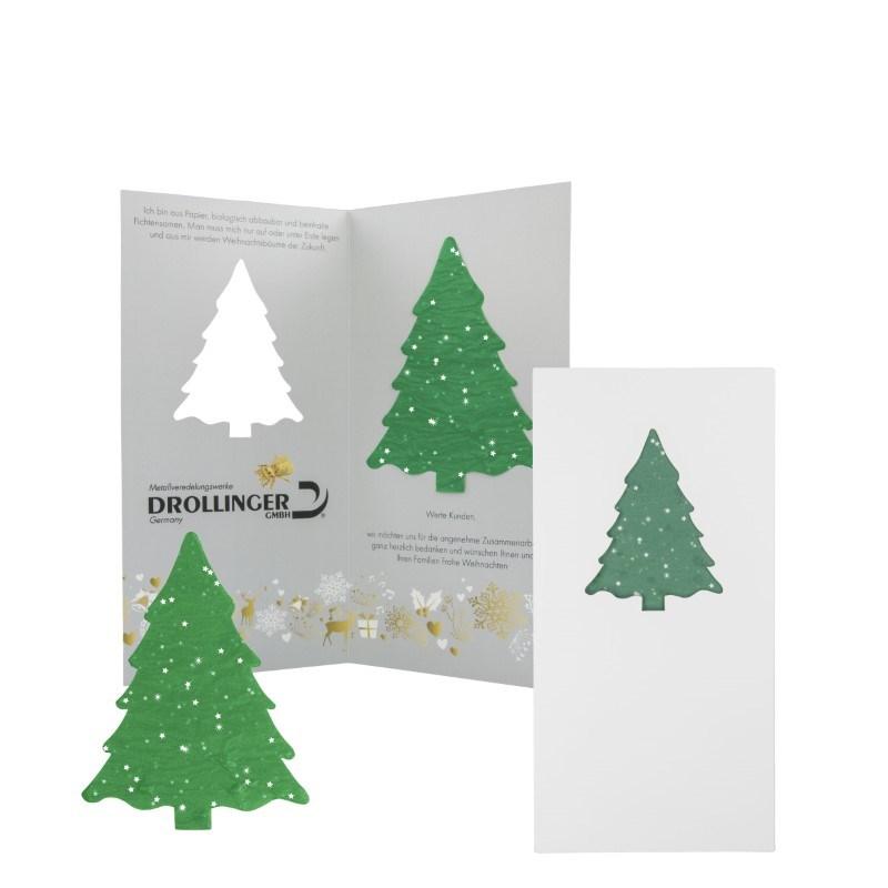 Kerstkaart met kerstboom groeipapier 4/0c