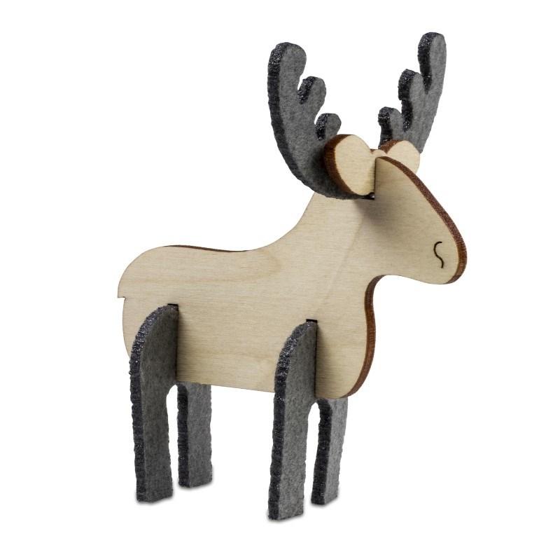 Kerstkaart steekfiguren vilt-houten eland 4/0c