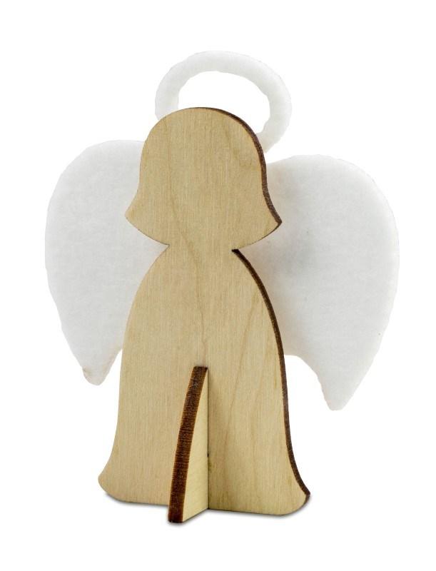 Kerstkaart steekfiguren vilt-houten engel 4/0c