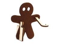 Kerstkaart steekfiguren vilt-houten speculaaspop 4/0c