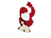 Kerstkaart steekfiguren vilt-houten kerstman 4/0c