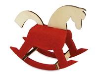 Kerstkaart steekfiguren vilt-houten schommelpaard 4/0c