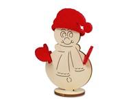 Kerstkaart steekfiguren vilt-houten sneeuwman 4/0c