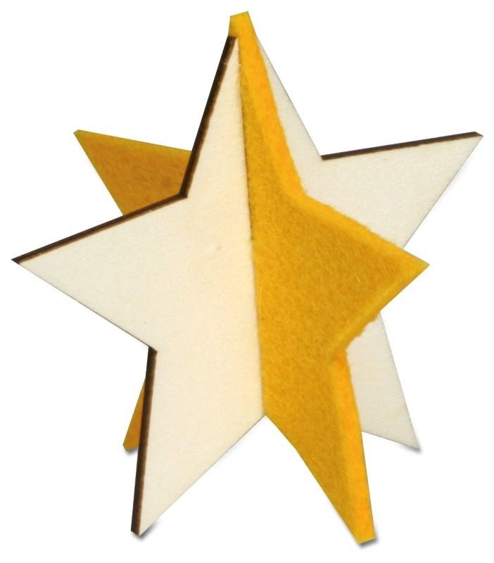Kerstkaart steekfiguren vilt-houten ster 4/0c