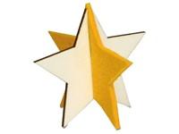 Kerstkaart steekfiguren vilt-houten ster 4/4c
