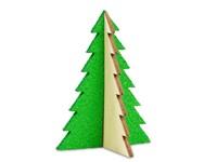 Kerstkaart steekfiguren vilt-houten boom 4/0c