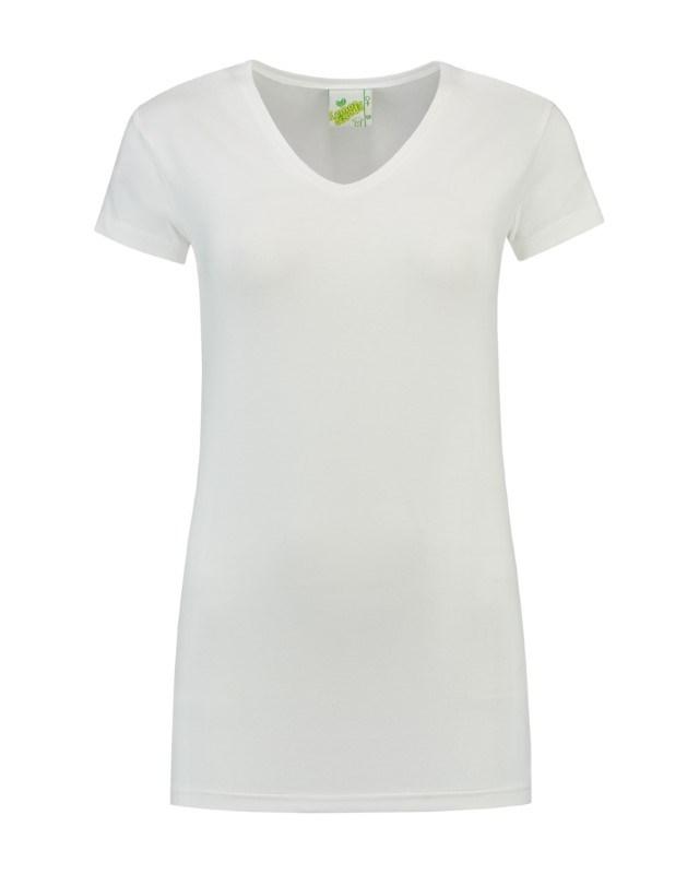 L&S T-shirt V-neck cot/elast SS for her
