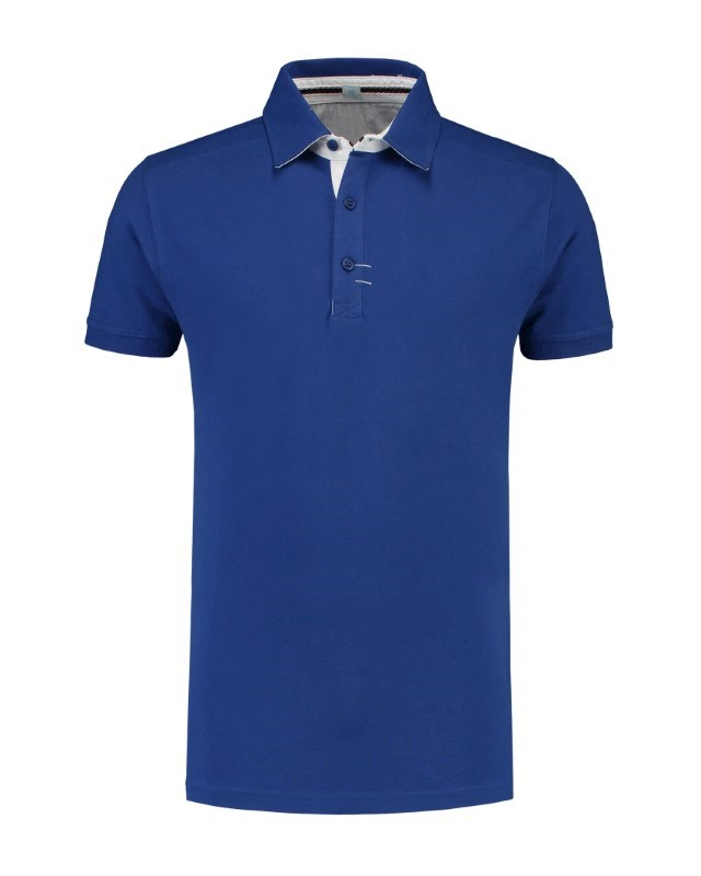 L&S Polo Contrast Cot/Elast SS for him