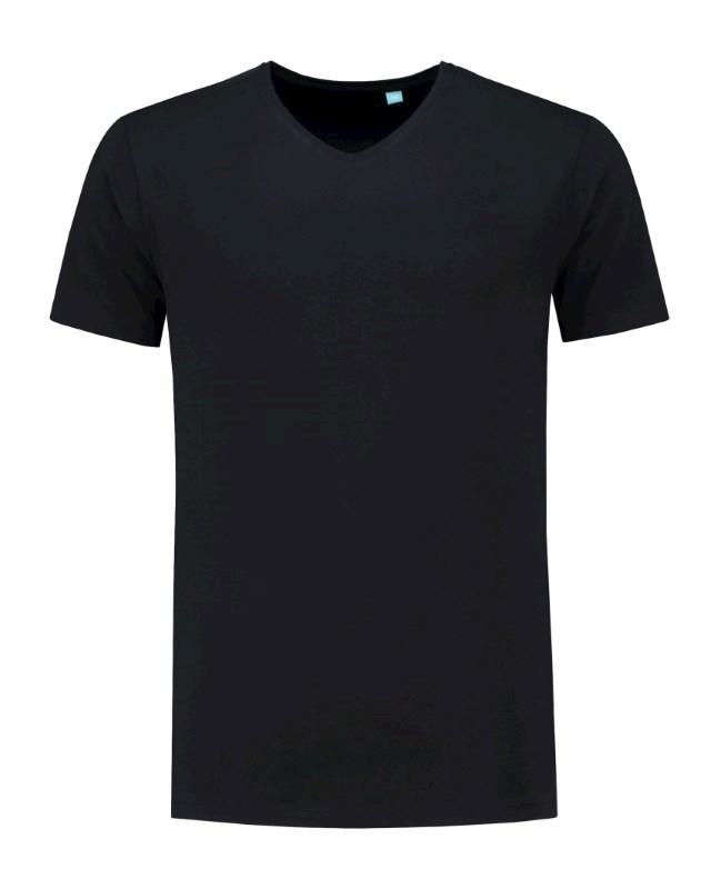 L&S T-shirt V-neck fine cotton elasthan