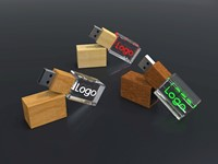 USB CRYSTAL 3D wood, (16GB)