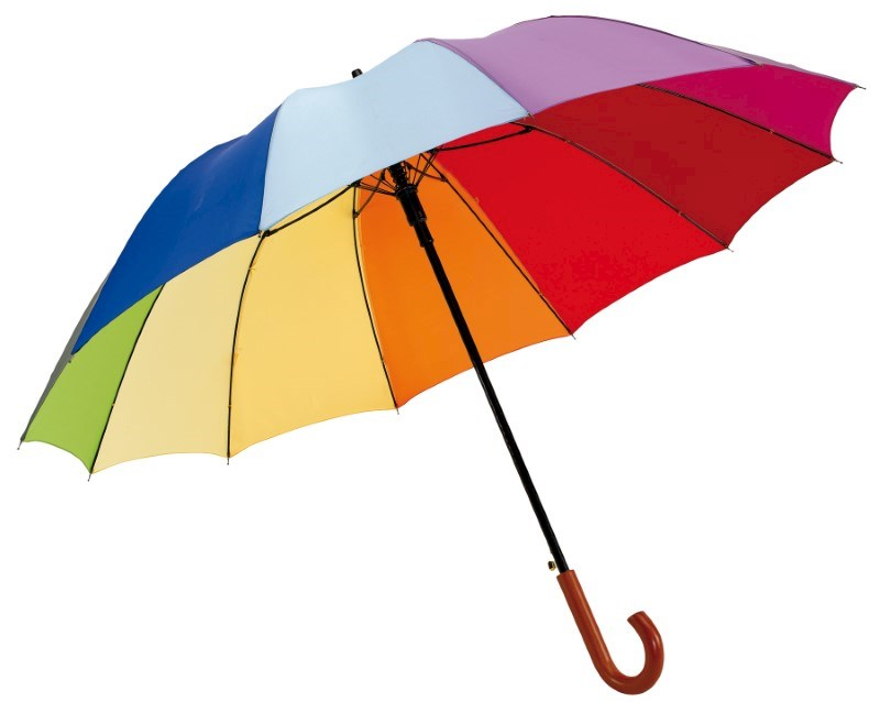 Autom.golf umbrella,12 p. Rainbow Light