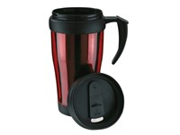 Plastic cup with lid, 400ml, red