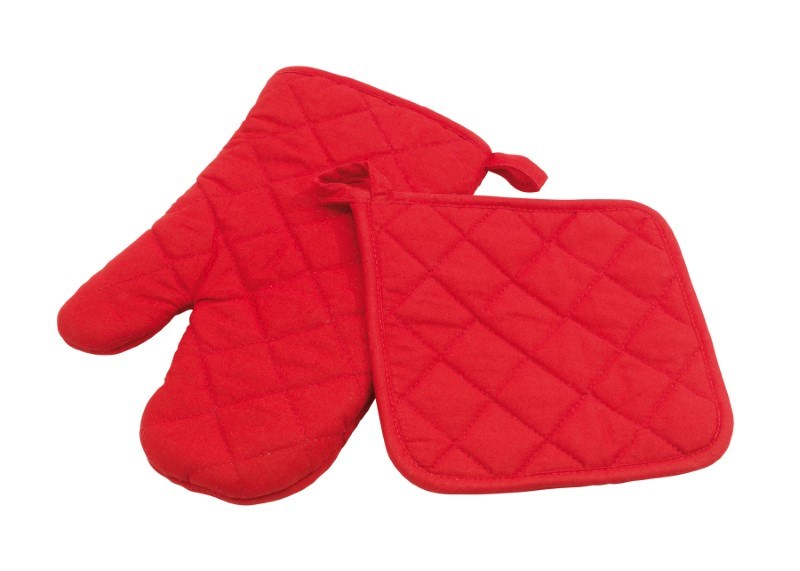 "Oven glove set ""Scure"", red"