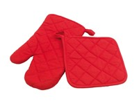 """Oven glove set """"Scure"""", red"""