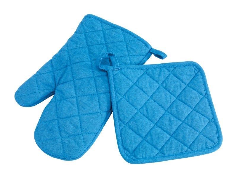 "Oven glove set ""secure"", blue"