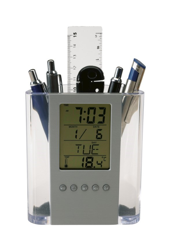 LCD alarm clock/pen holder
