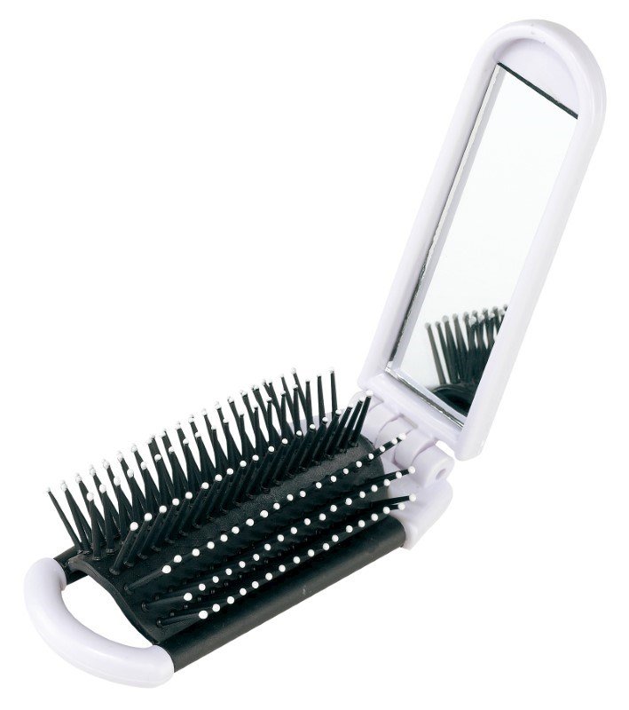 Foldable hair brush mirror,