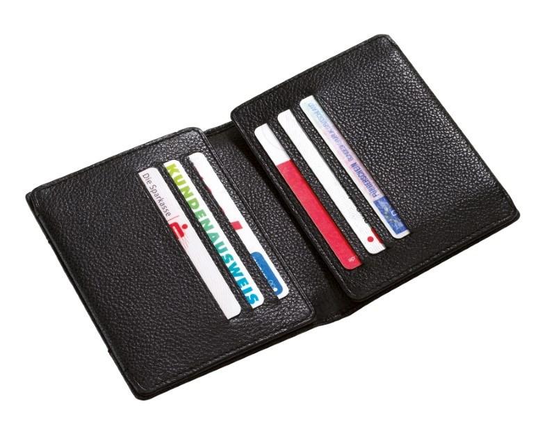 Leather credit card purse, black