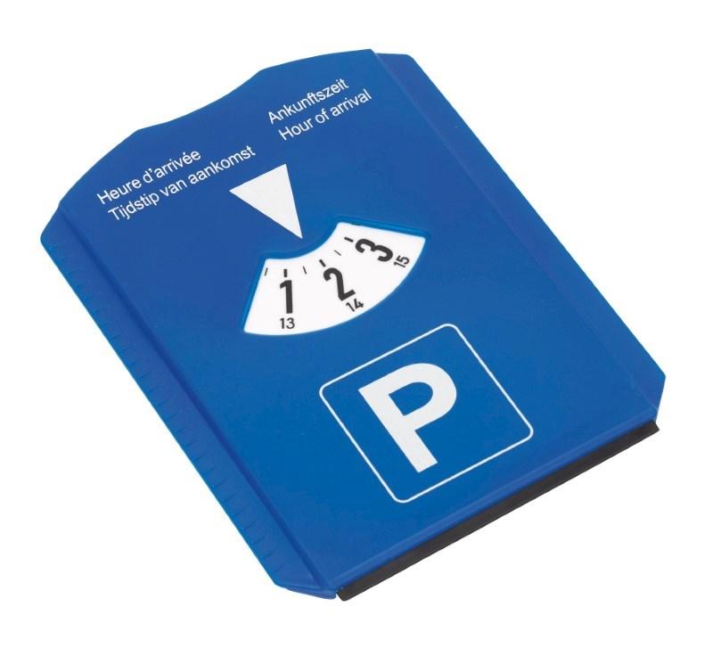 parking disc w/ ice scraper, blue/white
