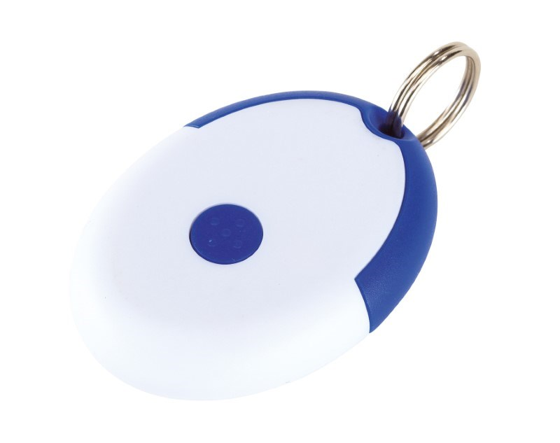 Keyring with condom, blue/white