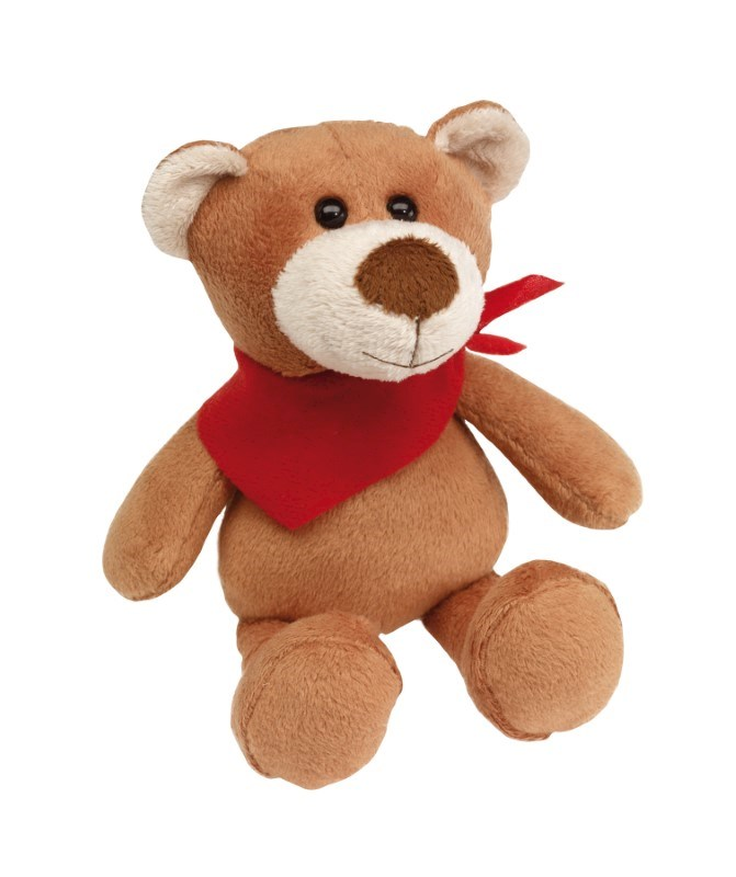 Plush bear with red triangle scarf