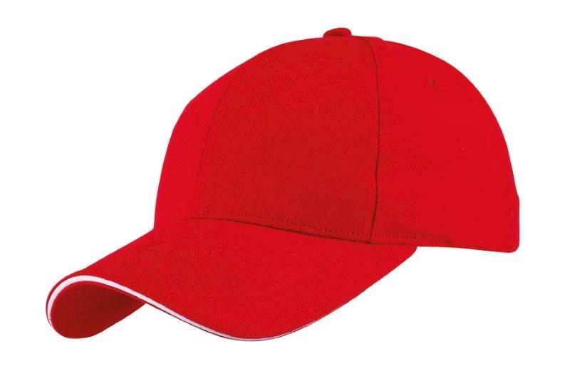 SANDWICH-CAP,HEAVY BRUSH., RED