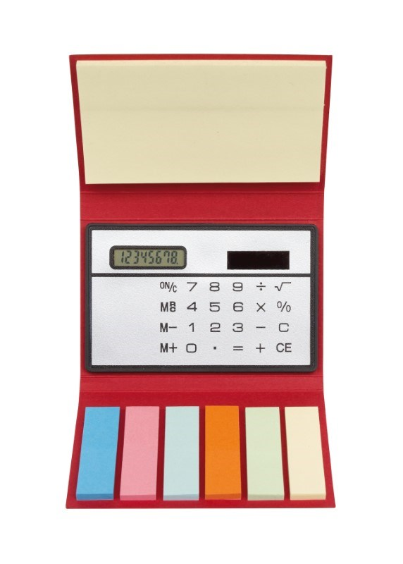 Memo pad with calculator,red