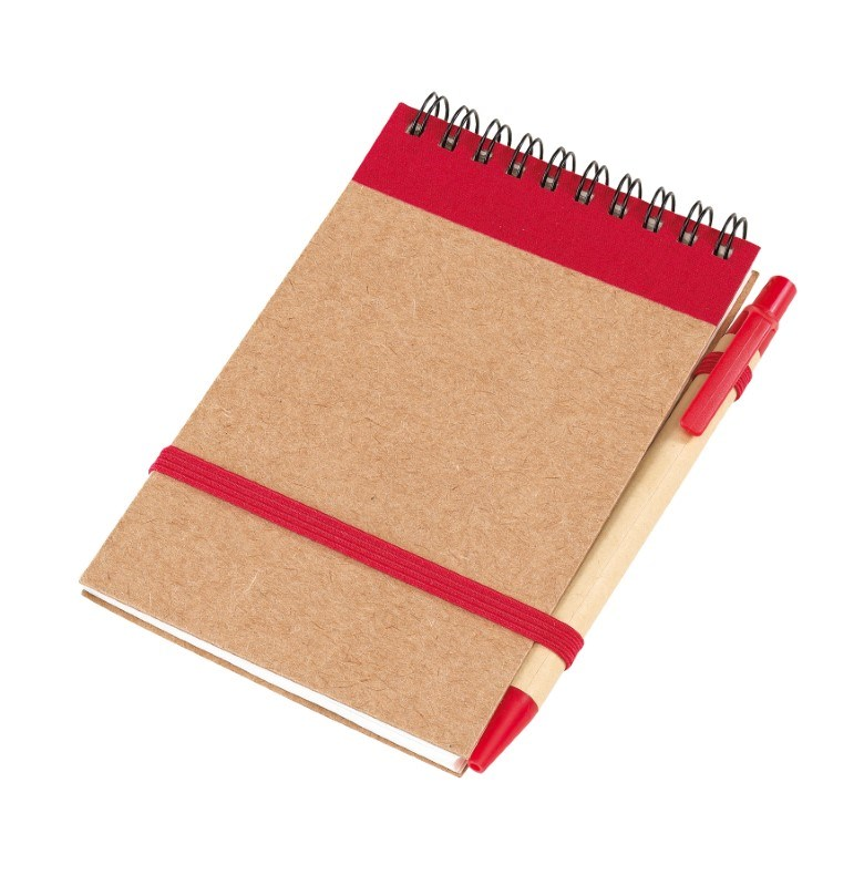 note book w/ elastic band closure,red
