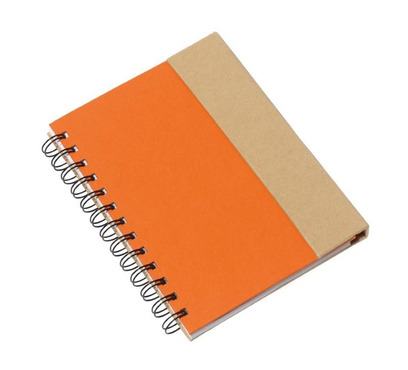 notebook w/ sticky notes