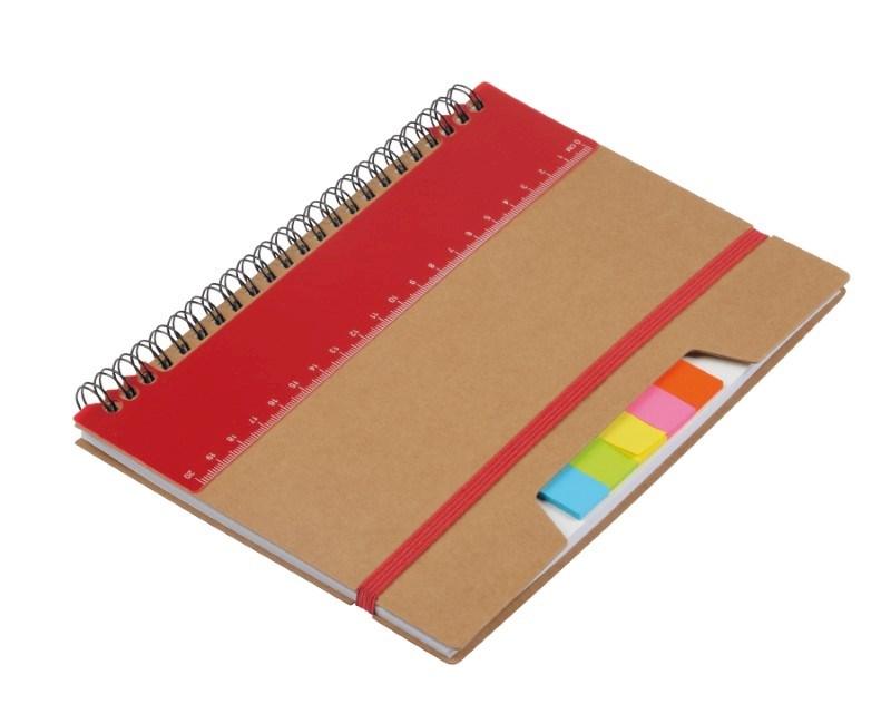 Notebook w. sticky notes RULERZ, br/red