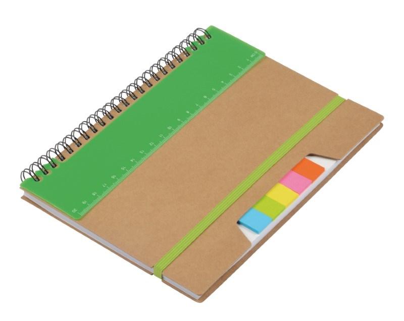 Notebook w. sticky notes RULERZ, br/gree